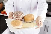 stock photo of hamburger-steak  - Chef Presentec Ingredients or Hamburger / Cooking Hamburger concept