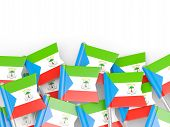 stock photo of guinea  - Flag pin of equatorial guinea isolated on white - JPG