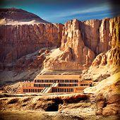 stock photo of hatshepsut  - Vintage instagram photo of the Hatshepsut temple in the Valley of the Kings - JPG