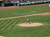 Josh Beckett Throws Pitch From Mound