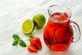 picture of refreshing  - Coctail. Refreshing summer drink with Strawberry in jug.