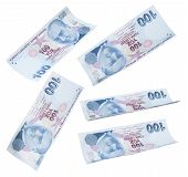 image of turkish lira  - Flying 100 Turkish Liras on white background - JPG
