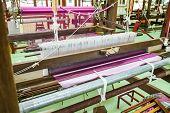 image of silk worm  - Machine woven silk traditional typical rural Thailand - JPG