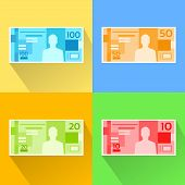 foto of brazilian money  - Brazilian Real Set Banknote Flat Design with Shadow Vector Illustration - JPG