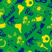 stock photo of brazil carnival  - color brazil icons and symbols seamless pattern eps10 - JPG