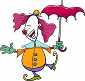 image of circus clown  - Cartoon Illustration of Funny Clown Circus Performer with Umbrella - JPG