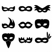 foto of carnival rio  - carnival rio black masks simple icons set eps10 - JPG