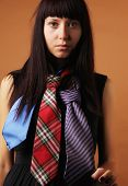 image of tied hair  - the beautiful young girl with long dark hair in black watches a dress with multi - JPG
