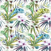 stock photo of chameleon  - Beutiful watercolor vector pattern with reptiles chameleon - JPG