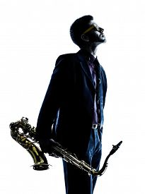 picture of saxophone player  - one caucasian man  saxophonist playing saxophone player in studio silhouette isolated on white background - JPG