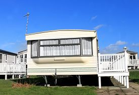 pic of caravan  - Caravans on a trailer park in England - JPG