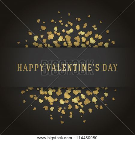 Valentine\'s Day Greeting Card or Poster Gold Hearts Confetti Vector Background
