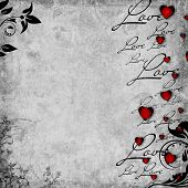 Romantic  Vintage Background With Red Hearts And Text Love (1 Of Set)