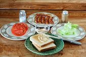 stock photo of chipotle  - Bacon Lettuce and Tomato Sandwich on toast with Chipotle Mayonnaise spread - JPG