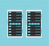 Vector high tech internet data center server poster