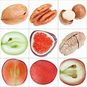 Постер, плакат: Коллаж изолированных фрукты орехи виноград инжир тонкой Shots Макро