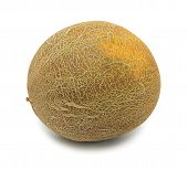 foto of musky  - Whole uzbek yellow melon isolated on a white background - JPG