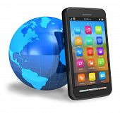 Touchscreen smartphone with Earth globe