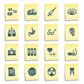 Medicine Web Icons, Yellow Notes Stickers
