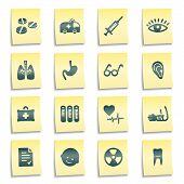 Medicina Web ícones, amarelo Notas autocolantes
