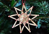 image of christmas star  - Christmas tree decoration made of straw - JPG
