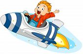 stock photo of little boy  - Illustration of a Little Boy Riding a Spaceship - JPG