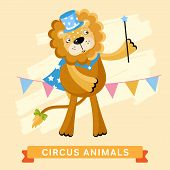 Постер, плакат: Circus Lion vector animal series