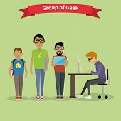 Geek Group Team People Flat Style poster