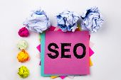 Writing Text Showing Seo Written On Sticky Note In Office With Screw Paper Balls. Business Concept F poster