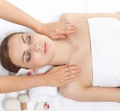 stock photo of spa massage  - spa massage young woman on white - JPG