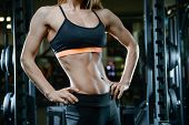 Sexy Athletic Young Girl Training Abs In Gym poster