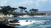 Colorful view at the ocean near Monterey, California