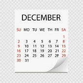 Monthly Calendar 2018 With Page Curl. Tear-off Calendar For December. White Background. Vector Illus poster