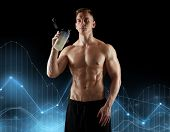 sport, bodybuilding, fitness and people concept - young man or bodybuilder with protein shake bottle poster