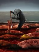 image of cynicism  - cynical digital painting of a dolphin slaughtering humanoid sea mammals - JPG