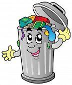 Cartoon trash can - vector illustration.