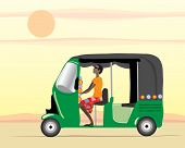 picture of rickshaw  - an illustration of an auto rickshaw driver in a green tuk tuk under an evening sunset - JPG