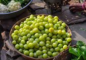 Indian Gooseberry Fruits At Local Market poster