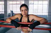 Female Boxer Inside A Boxing Ring poster