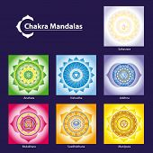 stock photo of tantric  - Vector Chakra Symbol Mandalas for Meditation to Facilitate Growth and Healing - JPG