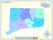 Connecticut State Map with Community Assistance and Activates Icons Original Illustration