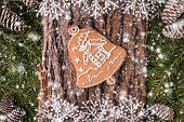 Christmas greeting card with rustic wood and ornaments. Xmas backgroud