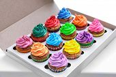 Tasty colorful cupcakes in box poster