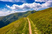 Footpath Through Grassy Mountain Ridge poster