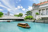 Scenic View Of Tourist Boats Sailing Along The Singapore River poster