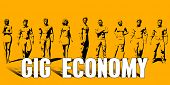 Gig Economy Concept With Business Professionals Standing in a Row poster
