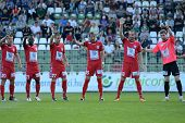 KAPOSVAR, HUNGARY - MAY 14: Szolnok players before a Hungarian National Championship soccer game - K