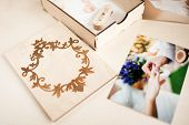 Original Gift Present. Beautiful Wedding Photobook And Usb Flash Drive In Vintage Handmade Wooden Bo poster