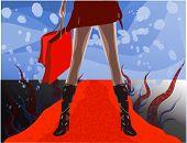Female Shopper On Red Carpet