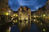 Old prison of annecy at night
